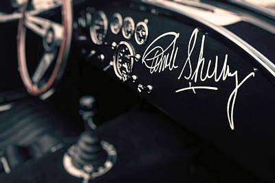 Carroll Shelby Signed Dashboard Print by Paul Bartell