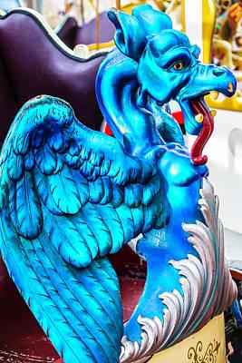 Dragon Photograph - Carrousel Blue Dragon Ride by Garry Gay