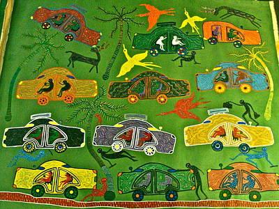 Gond Painting - Cars by Bhuri Bai