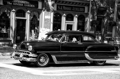Cars Crusing In Skaneateles New York Bw 03 Merge Print by Thomas Woolworth