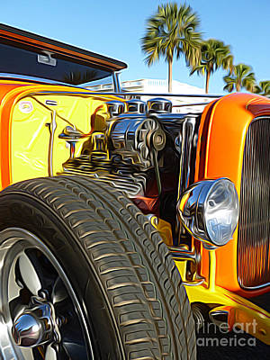 Cars - 1932 Ford Roadster Hot Rod - Engine And Tire Close Up Print by Jason Freedman