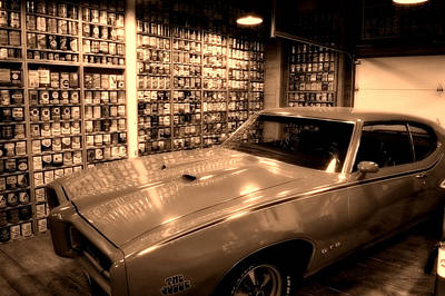 Historic Vehicle Mixed Media - Cars Pontiac Gto The Judge Sepia by Thomas Woolworth