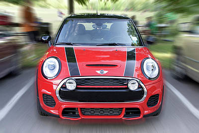 Cars Red Mini Cooper Print by Thomas Woolworth