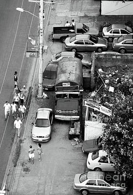 Old School Bus Photograph - Cartagena In Black And White by John Rizzuto