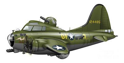 Us Army Fighters Digital Art - Cartoon Illustration Of A Boeing B-17 by Inkworm