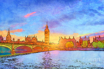 Lamp Photograph - Cartoon Style Illustration Of Big Ben And Westminster Bridge, London, The Uk by Michal Bednarek