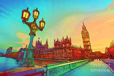 Lamp Photograph - Cartoon Style Illustration Of Big Ben Seen From Westminster Bridge, London, The Uk by Michal Bednarek