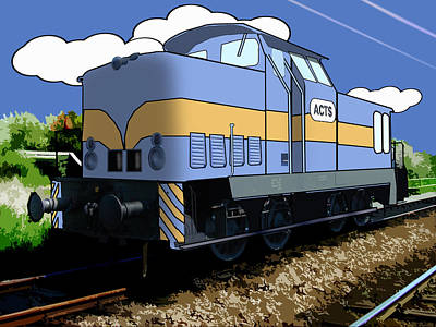 Cartoon Train Print by Gravityx9 Designs