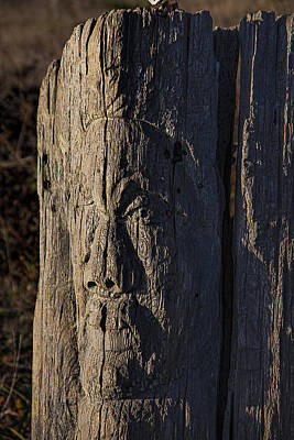 Fence Posts Photograph - Carved Fence Post by Garry Gay