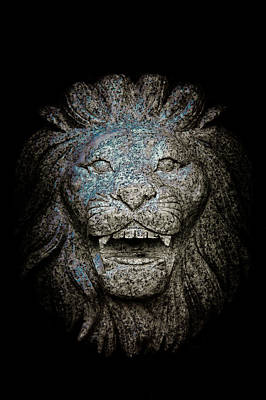 Carved Stone Lion's Head Print by Loriental Photography