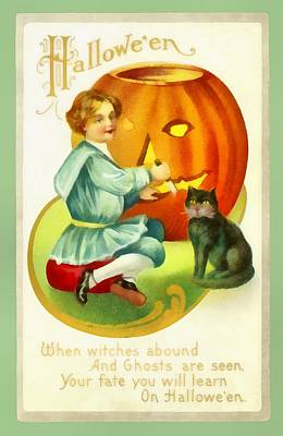 Carving A Pumpkin With Your Cat Print by Unknown