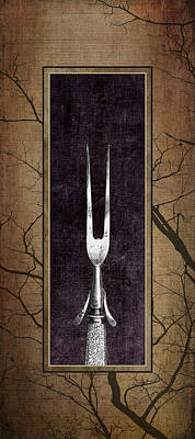 Tableware Photograph - Carving Set Fork Triptych 1 by Tom Mc Nemar