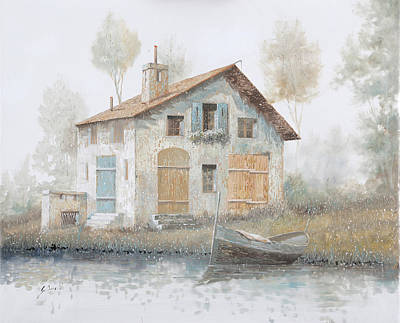 November Painting - Casa Pallida Nella Nebbia by Guido Borelli