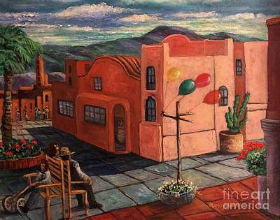 Balloon Fiesta Painting - Casas Rosadas by Randy Burns