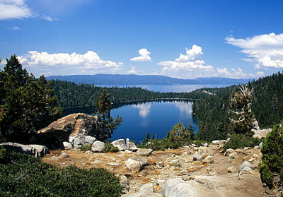 Cascade Lake And Lake Tahoe Print by Troy Montemayor