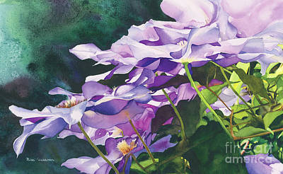 Clematis Painting - Cascading Clematis by Nicki Isaacson