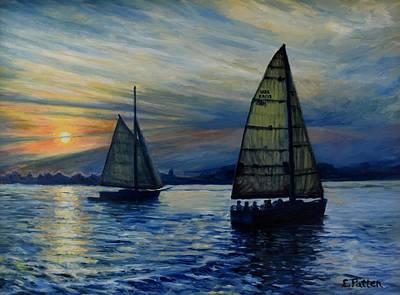 Casco Bay Sunset Original by Eileen Patten Oliver
