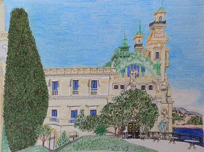 Europe Drawing - Casino At Monte Carlo by Margaret Brooks