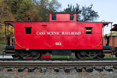 Old Caboose Digital Art - Cass Red Caboose by Jerry Fornarotto