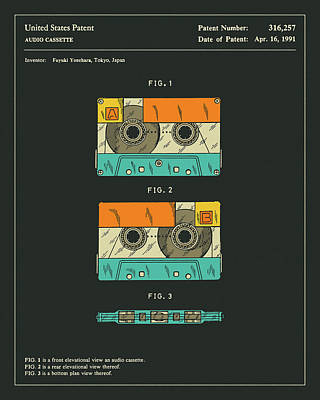 Tape Digital Art - Cassette Tape Patent 1991 by Jazzberry Blue