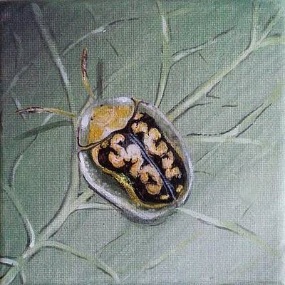 Insects Painting - Cassida Insect On The Leaf by Judit Szalanczi