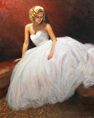 Curl Painting - Cassie On Her Wedding Day by Anna Rose Bain