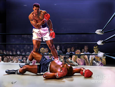 Cassius Clay Vs Sonny Liston Print by Reggie Duffie