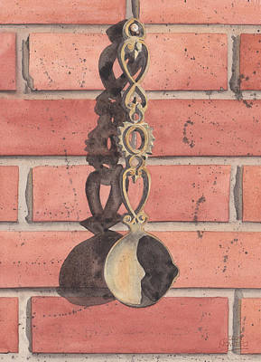 Watercolour Painting - Cast Iron Welsh Love Spoon by Ken Powers