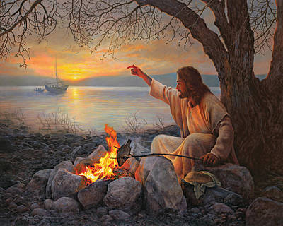 Fire Painting - Cast Your Nets On The Right Side by Greg Olsen