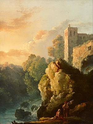 Wood Castle Painting - Castle And Waterfall by Mountain Dreams