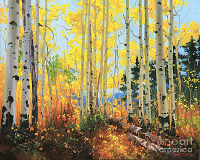 Fall Panorama Painting - Castle Creek Road by Gary Kim