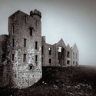 Old Ruin Photograph - Slains In The Fog by Dave Bowman