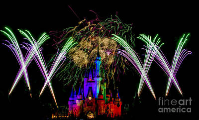 Castle Fireworks Finally Print by Darcy Michaelchuk