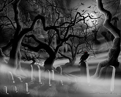 Concepts Painting - Castle Graveyard I by James Christopher Hill