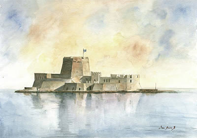 Castle Painting - Castle Of Bourtzi In Nafplio by Juan Bosco