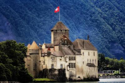 Castle On Lake Geneva Print by George Oze