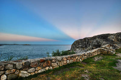 Sun Rays Digital Art - Castle Rock Sunset Sunrays Marblehead Ma by Toby McGuire