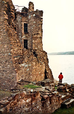 Castle Ruins On The Seashore In Ireland Print by Douglas Barnett
