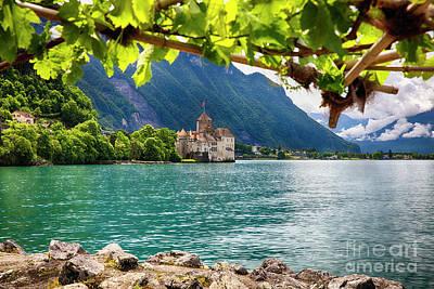 Castle View On Lake Geneva Print by George Oze