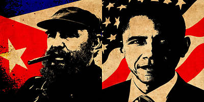 Castro And Obama Print by Andrew Fare