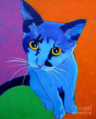 Cat - Kitten Blue Print by Alicia VanNoy Call