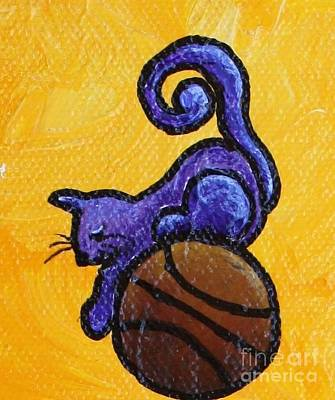 Limbbirds Painting - Cat And Ball #2 by LimbBirds Whimsical Birds
