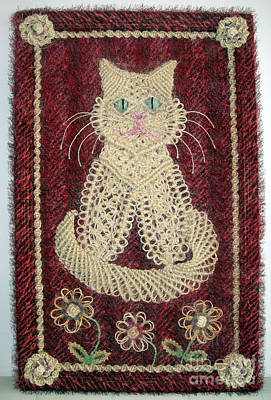 Cat And Flowers. Macrame Art Original by Sofia Metal Queen