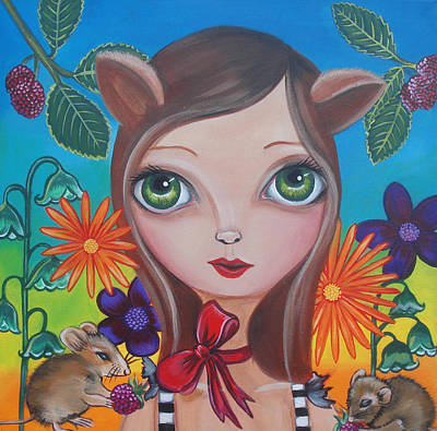 Raspberry Painting - Cat And Mouse by Jaz Higgins