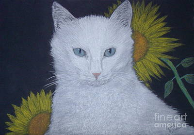 Cat And Sunflowers Original by Cybele Chaves