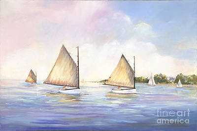 Beetle Cat Painting - Cat Boats At Play by P Anthony Visco