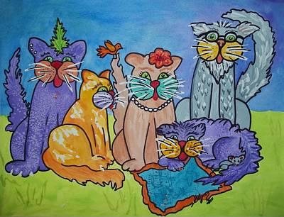 Cat Cartoon Painting - Cat Family Gathering by Ellen Levinson