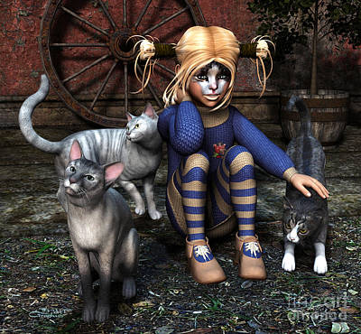 Gray Tabby Digital Art - Cat Girl by Jutta Maria Pusl