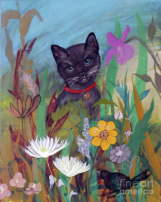 Painting - Cat In The Garden By Robin Maria Pedrero by Robin Maria Pedrero