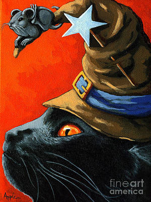 Witch Cat Painting - Cat In The Hat With Company by Linda Apple